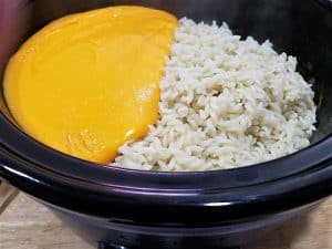 Mac and Cheese ready to be mixed in a slow cooker