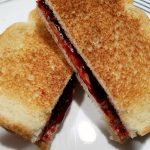 Toasted Peanut Butter and Black Raspberry Jelly Sandwich