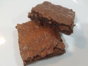 Brownies on a plate ready to eat